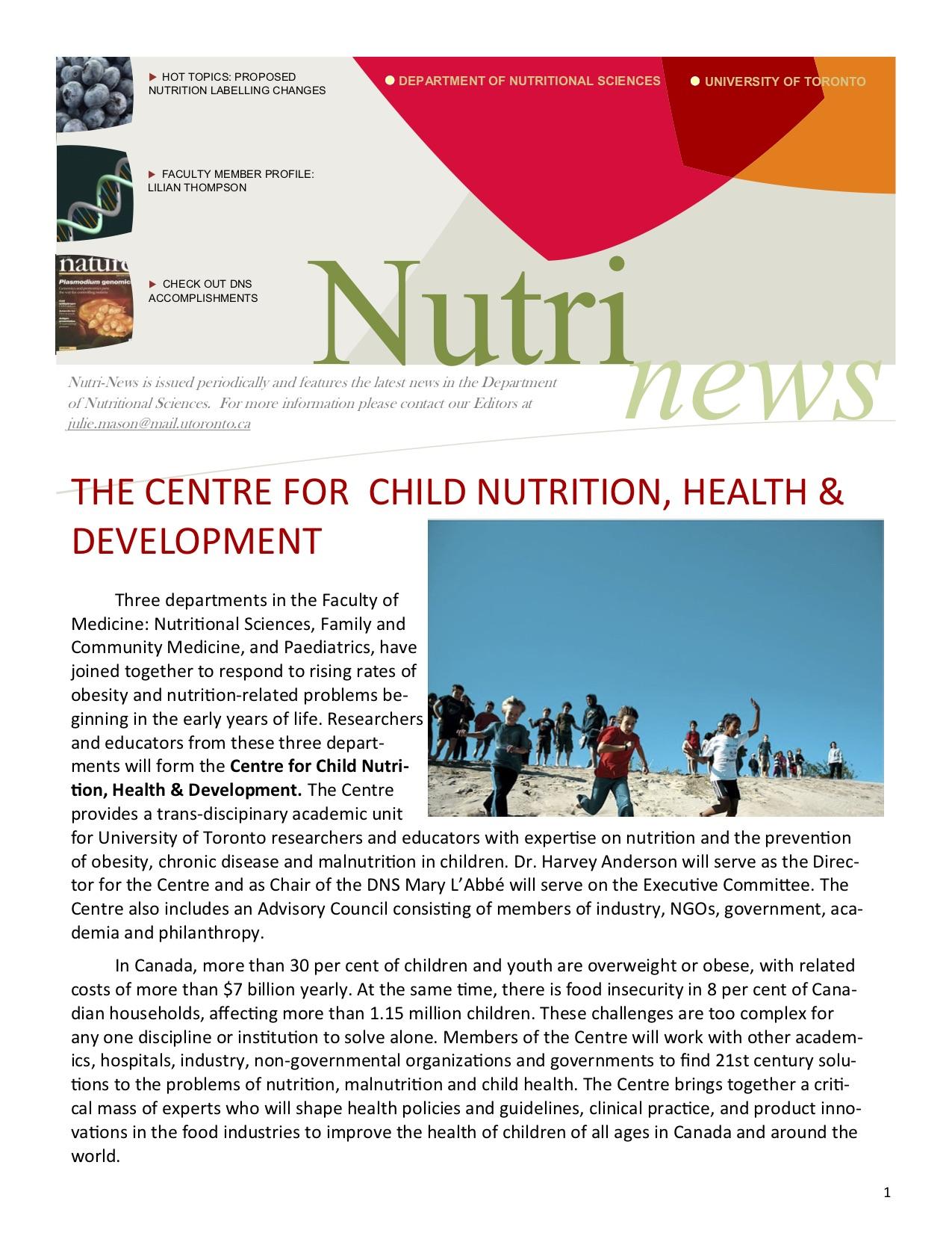 NutriNews Newsletter. 2014 Fall Issue
